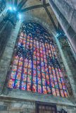 Stained glass window inside the gothic Cathedral of Milan, Italy Stock Photo