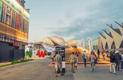 MILAN - 24 SEPTEMBRE 2015 : EXPO non identifiée 2015 de visite de personnes Image libre de droits