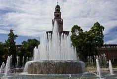 Milan Sforza Castle Fountain Royaltyfri Fotografi