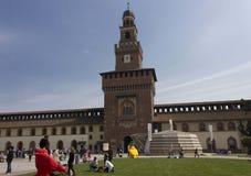 Milan Sforza Castle indoor facade Stock Image
