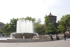 Milan Sforza Castle main tower in the background and its fountain Royalty Free Stock Image
