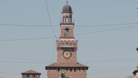 Milan Sforza Castle, summen herein 4k laut stock video