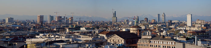 Milan skyline. With Alpi mountains in background Royalty Free Stock Photo