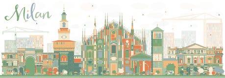 Milan Skyline abstrait avec des points de repère de couleur Photographie stock