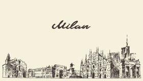 Milan skyline, Italy, vector dawn, sketch Stock Photo