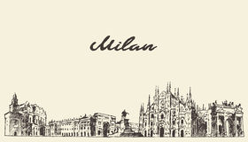 Milan skyline Italy vector hand drawn sketch Stock Images