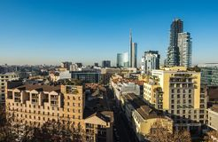 Milan skyline with modern skyscrapers business district, Italy royalty free stock images
