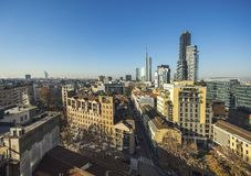 Milan skyline with modern skyscrapers in Porto Nuovo business district, Italy stock photography