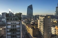 Milan skyline with modern skyscrapers in Porto Nuovo business district, Italy stock image