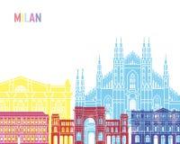 Milan skyline pop. Milan V2 skyline pop in editable vector file Stock Image