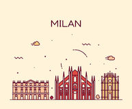 Milan skyline trendy vector illustration linear Stock Photo