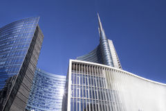 Milan skyscraper and financial district. Blu sky Royalty Free Stock Photo