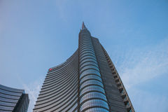 Milan Square Gae Aulenti, Unicredit Tower. Milan, Italy: October 22, 2016: View of the new buildings in the square Gae Aulenti and Corso Como in Porta Nuova area Royalty Free Stock Photo