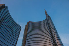 Milan Square Gae Aulenti, Unicredit Tower. Milan, Italy: October 22, 2016: View of the new buildings in the square Gae Aulenti and Corso Como in Porta Nuova area Royalty Free Stock Photography