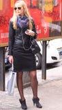 Milan street fashion model in town Royalty Free Stock Images