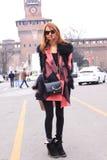 Milan streetstyle fashion royalty free stock photo