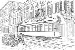 Milan street with tramway. Figure Milan street with tram and motorcycles Royalty Free Stock Image