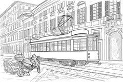 Milan street with tramway Royalty Free Stock Image