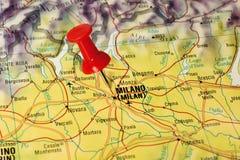 Milan sur une carte Photographie stock