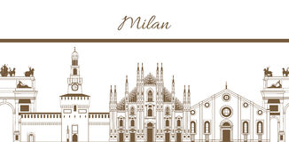 8.03 milan template. Vector hand-drawn template with composition of famous landmarks of Milan Royalty Free Illustration