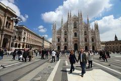 Milan: tourists visit Piazza Duomo Royalty Free Stock Image