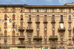 Milan town center and old residential buildings, milan, italy Stock Photo