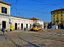 Milan tram porta genova Royalty Free Stock Photography