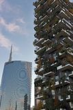 Milan - The UniCredit and Bosco Verticale towers at sunset in the autumn, Porta Nuova district , Italy stock photos