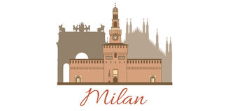 Milan. Vector hand-drawn colored template with composition of famous landmarks of Milan Stock Images