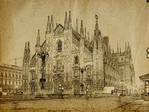 Milan. Vintage illustration of Duomo Cathedral in Milan, Italy Stock Image
