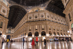 Milan, Vittorio Emanuele gallery by night. Low angle view of Vittorio Emanuele gallery - is an historic shopping arcade situated in the center of Milan Stock Photography