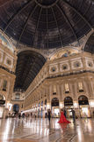 Milan, Vittorio Emanuele gallery by night. Low angle view of Vittorio Emanuele gallery - is an historic shopping arcade situated in the center of Milan Stock Photos