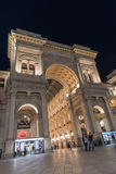 Milan, Vittorio Emanuele gallery by night. Low angle view of Vittorio Emanuele gallery - is an historic shopping arcade situated in the center of Milan. View Stock Photography