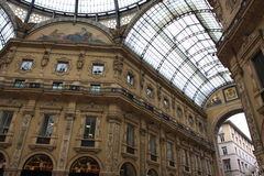 Milan Vittorio Emanuele II Gallery. The famous gallery in Cathedral square in Milan, built in the honour of King Vittorio Emanuele II from Giuseppe Mengoni royalty free stock photography