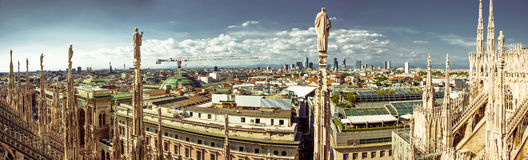 Milan Wide Panorama Immagine Stock