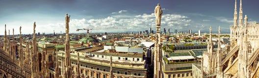 Milan Wide Panorama. Ultra wide panorama of Milan city taken from Duomo cathedral rooftop Stock Image