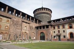 Milan - yard od Sforza castle Stock Photos