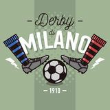 Milanese Derby Label Design. Soccer Boots And Ball Flat Thin Lin. E Illustration.  Vector Graphic Stock Images