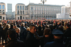 Milanese people watching Arsenal London fans Stock Images