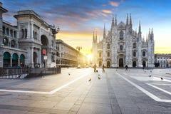 Milano ande, ställe av duomoen och galleria Arkivbild