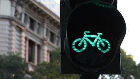 Milano bicycle traffic light turn on and off - Cairoli stock video