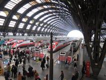 Milano centrale railway station with Frecciarossa trains Stock Photo