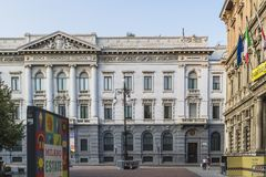 Milano city centre street view. With people and cars  . Italy , Europe Royalty Free Stock Photography