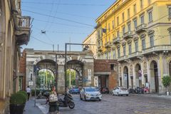 Milano city centre street view Royalty Free Stock Images