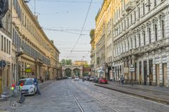 Milano city centre street view Royalty Free Stock Photography