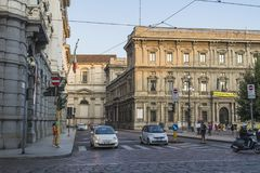 Milano city centre street view. With people and cars  . Italy , Europe Royalty Free Stock Images