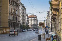 Milano city centre street view. With people and cars  . Italy , Europe Royalty Free Stock Photo
