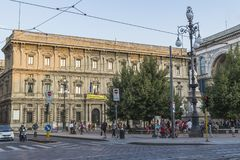 Milano city centre street view. With people and cars  . Italy , Europe Royalty Free Stock Photos
