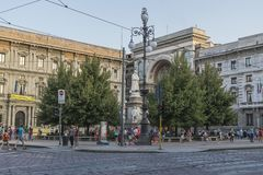 Milano city centre street view. With people and cars  . Italy , Europe Royalty Free Stock Image