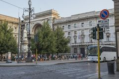 Milano city centre street view. With people and cars  . Italy , Europe Stock Image